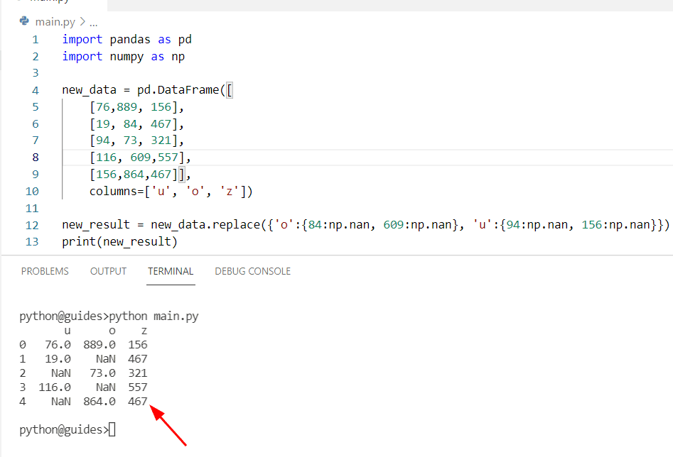 Pandas replace multiple values with nan