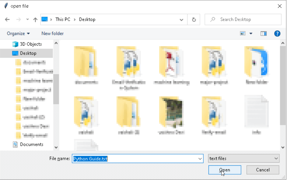 file dialog filter Python Tkinter