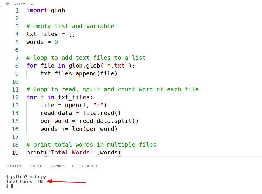 python count words from multiple files