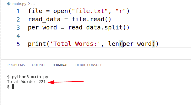python count words in a file