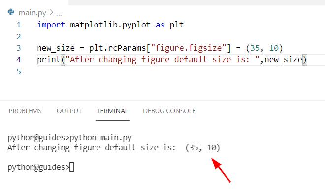 visual studio matplotlib default figure size